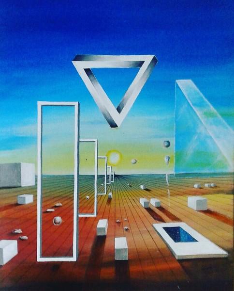 """Moving Blocks"" (acrylic on canvas) by Valdengrave Okumu"