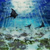 """Dance of the Eagle Rays"" (mixed media) by Susanne Weber"