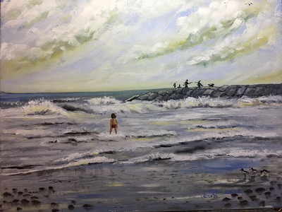 """Fishing From the Jetties"" (oil on canvas) by Crista Bromley"