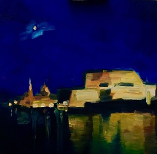"""Midnight Valletta"" (oil on canvas) by Julia Fedotova"