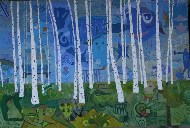 """""""Graffiti Garden"""" (oil) by Cheryl Kramer"""