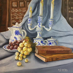 """Blue Still Life"" (oil on canvas) by Crista Bromley"