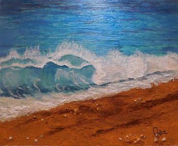 """Sandy Shore"" (mixed media) by Smita Kadam"