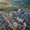 """""""Above the city"""" (watercolor, acrylic, graphic pen) by Oksana Popova"""