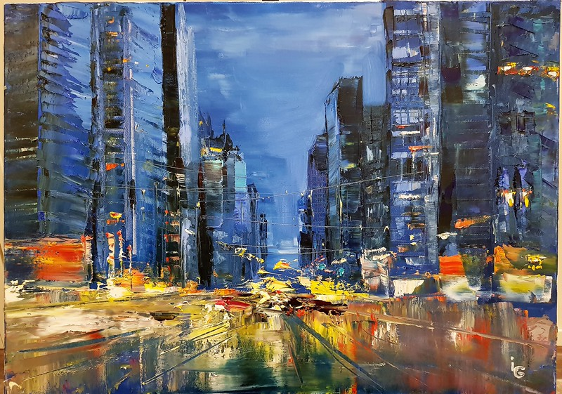 """""""City in the darkness"""" (oil on canvas) by Irina Grabova"""