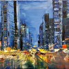 """City in the darkness"" (oil on canvas) by Irina Grabova"