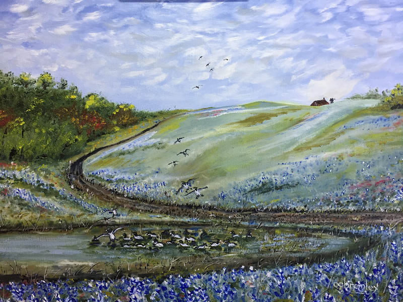 """""""Bluebonnet Trail"""" (oil on canvas) by Crista Bromley"""