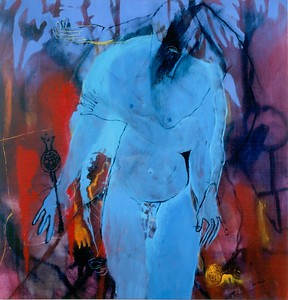 """Blue Figure"" (oil on canvas) by René Alvarado"