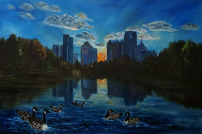 """Refelctions at Piedmont Park"" (oil) by Shauna Britt"
