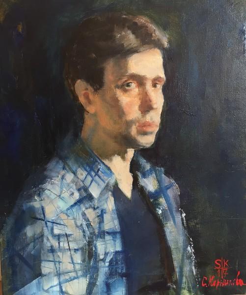 """Man in blue"" (oil on canvas) by Svetlana Kornilova"