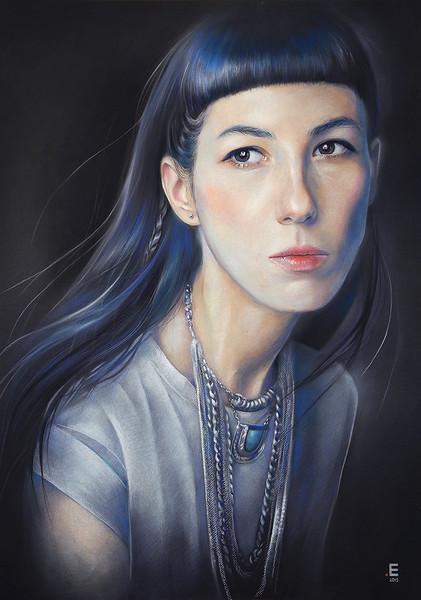 """Foggy self-portrait"" (paper, gouache, pastel) by Eugenia Shchukina"