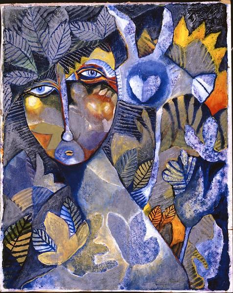 """Blue Heart"" (oil on canvas) by René Alvarado"