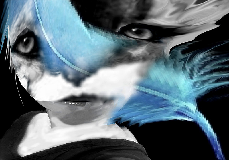 """Blue Feather"" (digital photography) by Constance Vepstas"