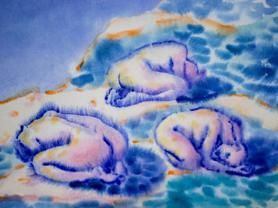 """Blue stones"" (watercolor) by Nadezda Khmyl"