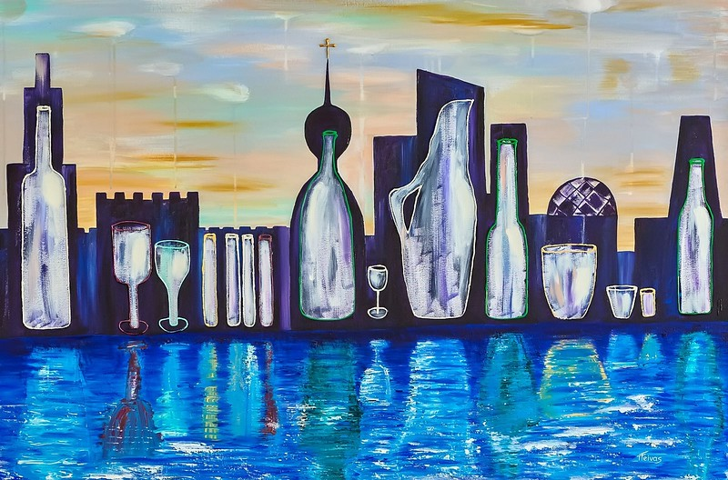 """Empty cities"" (acrylic on canvas) by Tatjana Teivas"