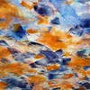 """Blue and Orange"" (acrylic on canvas) by Clair Song"