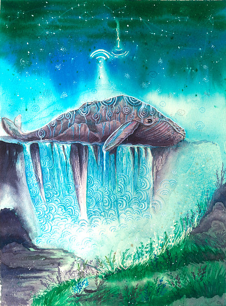 """Ancient whale"" (watercolor, ink, colored pencils, watercolor paper) by Svetlana Gotiridze"