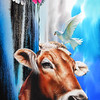 """Cosmos Bull"" (watercolor) by Junsung Back"