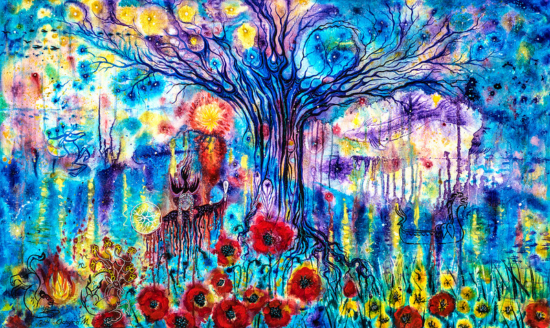 """""""Cosmic Tree"""" (acrylic on canvas) by Marianna Ochyra"""