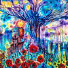 """Cosmic Tree"" (acrylic on canvas) by Marianna Ochyra"