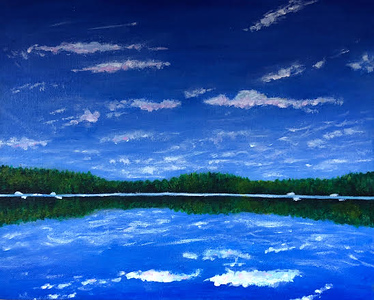 """Perfect Day at the Lake"" (acrylic on canvas) by Taylor George"