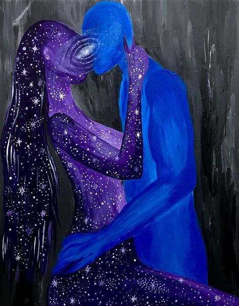 """""""Once in a Blue Moon"""" (acrylic on canvas) by Evgeniya Gol"""
