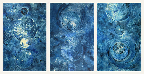 """Alchemist"" (monopype, pen & ink, ink wash triptych ) by Shanti Conlan"