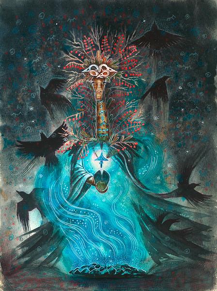 """""""Shaman giraffe"""" (watercolor, ink, colored pencils, watercolor paper) by Svetlana Gotiridze"""