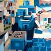 """Blue City, Jodhpur, India"" (acrylic on canvas) by Toni Silber-Delerive"