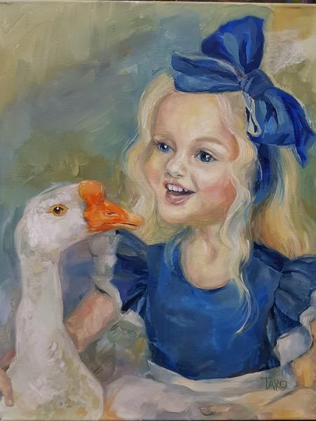 """Girl with a goose"" (oil on canvas) by Tatiana Kaisheva"