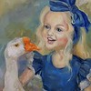 """Girl with a goose"" (oil on canvas) by Tatiana Kaisheva"