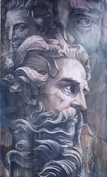 """Neptune"" (plaster and paint on plywood) by IvaNn Iliushchenko"