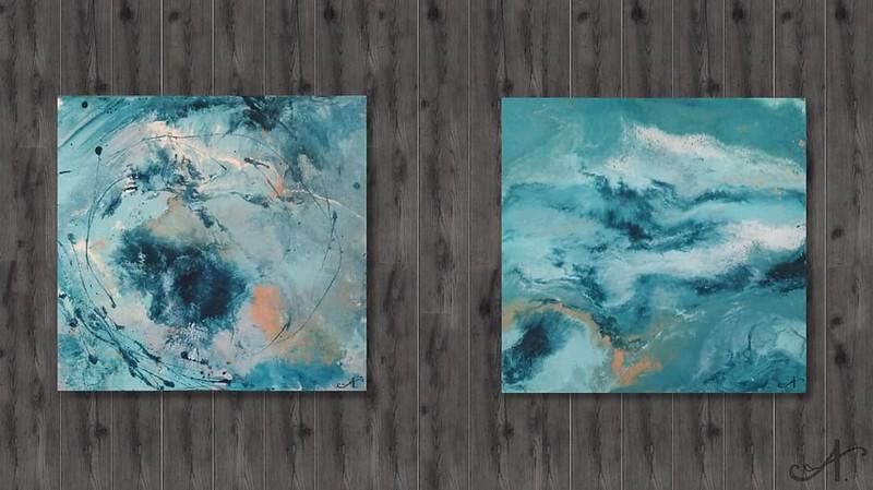 "series ""blue music"" (acrylic on hardboard) by Anna Ivakna"