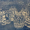 """Blue & White"" (linocut) by Barbara Mellin"