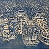 """Blue & White"" (linocut) by Barbara Mellin"