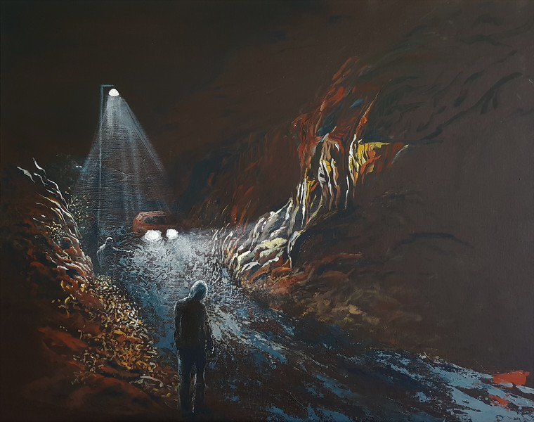"""""""Caugtht in the Headlights"""" (acrylic on canvas board) by Angeline Bartholomeusz"""