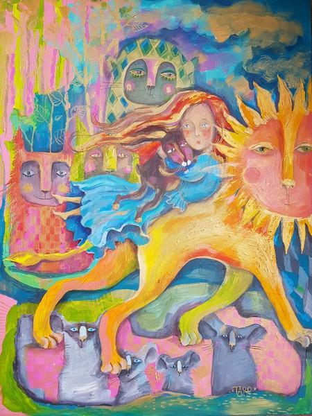"""""""Lion"""" (acrylic on canvas) by Tatiana Kaisheva"""