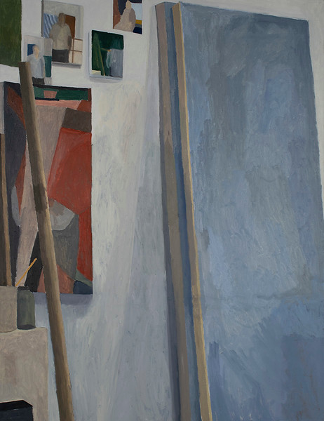 """""""Studio Wall with Blue Painting"""" (oil on canvas) by Sam Kelly"""