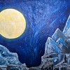 """""""The attraction of the moon"""" (oil) by Elena Motkova"""