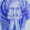 """Indonesian woman, quiet happiness"" (ballpoint pen) by Maria Rementsova"
