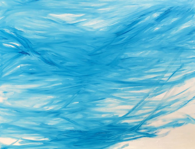 """""""fog day series #1 blue"""" (cold wax, oil  on canvas) by Joan Innes"""