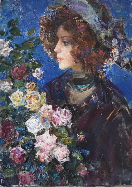 """Girl with flowers"" (oil on canvas) by Anastasiia Matveeva"