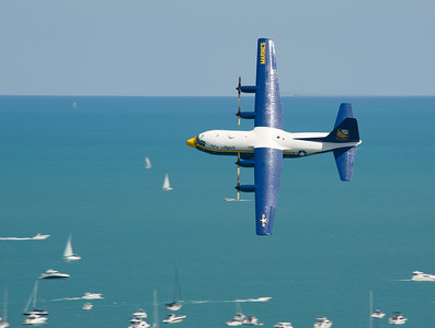 120818-N-BA418-043 CHICAGO (Aug. 18, 2012) Fat Albert, a C-130 Hercules aircraft assigned to the U.S. Navy Flight Demonstration Squadron, the Blue Angels, performs aerial maneuvers over Lake Michigan at the Chicago Air & Water Show as part of the 2012 air show season. (U.S. Navy photo by Mass Communication Specialist 2nd Class Andrew Johnson/Released)