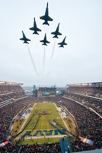 PHILADELPHIA (Dec. 14, 2013) – Pilots assigned to the U.S. Navy Flight Demonstration Squadron, the Blue Angels, perform a flyover prior to kickoff at the National Collegiate Athletic Association (NCAA) football game between the U.S. Naval Academy (Navy) and the U.S. Military Academy (Army) atLincoln Financial Field inPhiladelphia, Saturday, December 14, 2013.(U.S. Navy photo by Mass Communication Specialist 1st Class Michael Lindsey /Released)