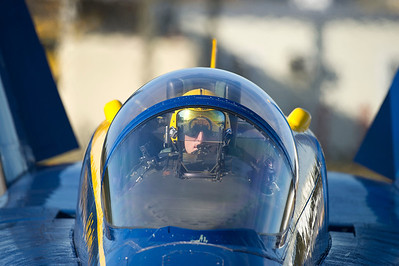 121119-N-DI587-001 PENSACOLA, Fla. (November 19, 2012) U.S. Navy Flight Demonstration Squadron, the Blue Angels, Commanding Officer and Flight Leader Cmdr. Tom Frosch completes take off checks prior to a practice flight demonstration over Naval Air Station Pensacola, Fla., Nov. 19, 2012. The Blue Angels are currently conducting winter training, where pilots must complete 120 practice flights prior to the first air show of the 2013 season. (U.S. Navy photo by Mass Communication Specialist 1st Class Rachel McMarr/Released)