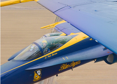 130124-N-SN160-498 EL CENTRO, Calif., (Jan. 24, 2013) U.S. Navy Flight Demonstration Squadron, the Blue Angels, Left Wing Pilot Lt. Nate Barton, from Hummelstown, Penn., references checkpoints that the Blue Angels use when flying in formation with the right wingman over Shadetree Range, near El Centro, Calif., during a training sortie Jan. 24. The Blue Angels are currently conducting winter training where pilots must complete 120 practice flights before kicking off the 2013 air show season at Naval Air Facility El Centro March 16. (U.S. Navy photo by Mass Communication Specialist 2nd Class Michael Lindsey/Released)
