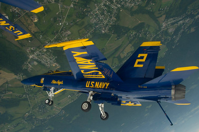 120622-N-DI587-286 LATROBE, Pa. (June 22, 2012) U.S. Navy Flight Demonstration Squadron, the Blue Angels, Right Wing Pilot Lt. John Hiltz flies inverted during a practice flight demonstration over Latrobe, Pa., June 22. The Blue Angels performed at the Westmoreland County Airshow as part of the 2012 air show season. (U.S. Navy photo by Mass Communication Specialist 1st Class Rachel McMarr/Released)