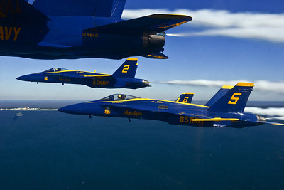 PENSACOLA, Fla. (Oct. 23, 2013) - U.S. Navy Flight Demonstration Squadron, the Blue Angels, pilots fly in a delta formation during a training flight.  While the U.S. Navy cancelled the remaining 2013 Blue Angels performances, the squadron maintained minimum safe flying levels and proficiency flight operations since April.  This month, the Department of Defense approved funding for the Blue Angels full 2014 air show season.  (U.S. Navy photo by Mass Communication Specialist 1st Class Terrence Siren)
