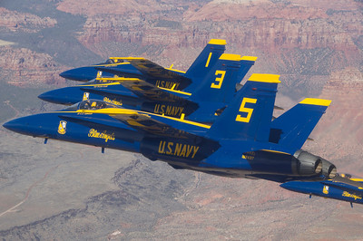 120314-N-DI587-002 ZION NATIONAL PARK, Utah (March 14, 2012) U.S. Navy flight demonstration squadron, the Blue Angels, pilots fly in formation during a photo shoot over Zion National Park near St. George, Utah. The Blue Angels are in Utah for the first time in 30 years to perform during the Thunder over Utah Air Show March 17-18. (U.S. Navy photo by Mass Communication Specialist 1st Class Rachel McMarr/Released)