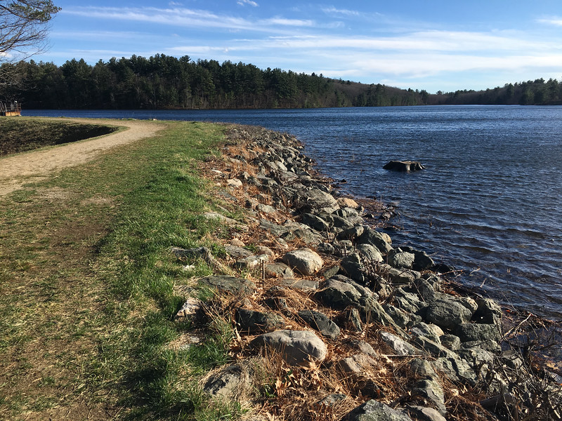 A level path along the banks of the Mill Pond Reservoir provides good ground for trail runners or those who wish to take a stroll. Photo by Mary Leach